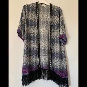 Colorful Fringed Knitted Open Cardigan - Women